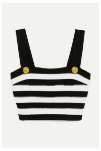 Balmain - Cropped Striped Ribbed Jersey Top - Black