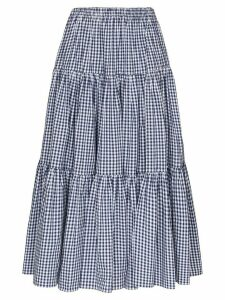 Batsheva Amy gingham flared skirt - Blue