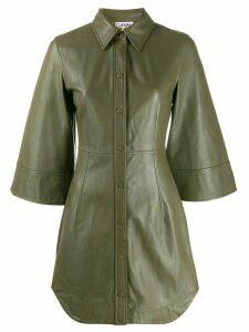 GANNI leather mini shirt dress - Green