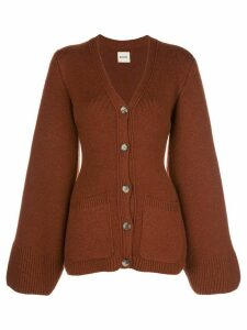 Khaite Lucy slim-fit wool cardigan - MAHOGANY