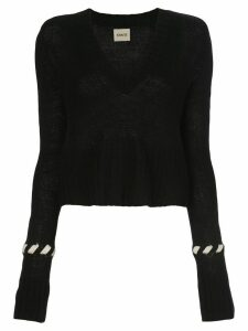 Khaite contrast-whipstitching wool jumper - Black