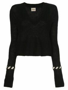 Khaite contrast-whipstitching wool jumper - Black