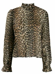 GANNI pleated leopard print blouse - Brown