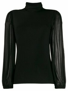 GANNI fitted polka dot blouse - Black