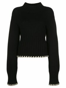 Khaite Colette contrast-whipstitching wool jumper - Black
