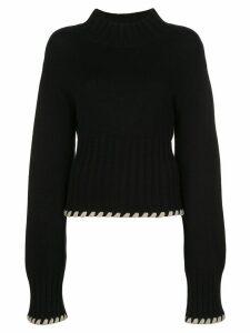 Khaite Colette contrast-whipstitching wool jumper - Black