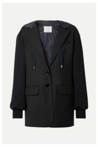 Tibi - Reversible Hooded Jersey And Shell-paneled Woven Blazer - Midnight blue