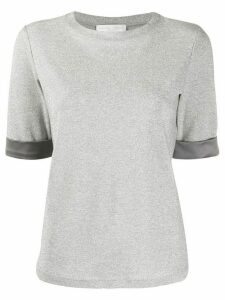 Fabiana Filippi satin-cuff short-sleeved T-shirt - SILVER