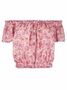 Poupette St Barth off-shoulder floral blouse - PINK