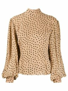 GANNI polka dot bishop-sleeves blouse - Brown