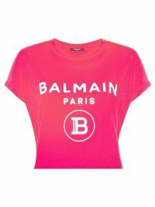 Balmain logo print cropped T-shirt - PINK