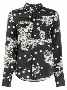 Neil Barrett polka-dot and leopard-print shirt - Black