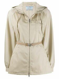 Prada belted zipped jacket - NEUTRALS