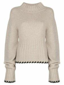 Khaite Colette contrast-whipstitching wool jumper - NEUTRALS