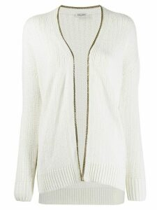 Saint Laurent chain trim cardigan - NEUTRALS