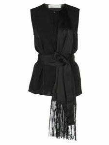 Victoria Victoria Beckham asymmetric fringe blouse - Black