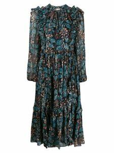 Ulla Johnson long sleeve ruffled floral print dress - Blue