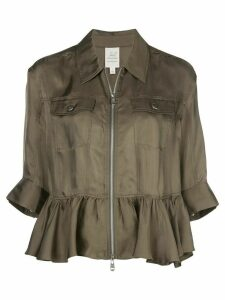 Cinq A Sept ruffle trim shirt jacket - Green