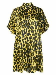 Just Cavalli leopard-print satin shirt dress - Yellow