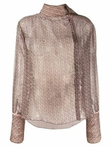 Fendi foulard collar monogrammed blouse - Brown
