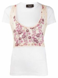 Dsquared2 floral panelled T-shirt - White