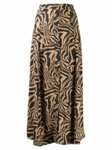 GANNI tiger print midi skirt - NEUTRALS