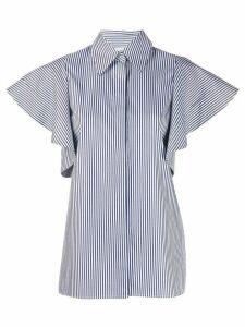 Victoria Victoria Beckham pinstriped flutter-sleeved shirt - White