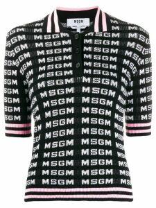 MSGM logo intarsia polo shirt - White