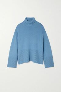 Michael Kors Collection - Ruffled Ribbed-knit Sweater - Turquoise