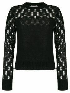 See by Chloé embroidered long-sleeve jumper - Black