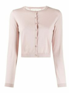 RedValentino cropped ribbed crew neck cardigan - PINK