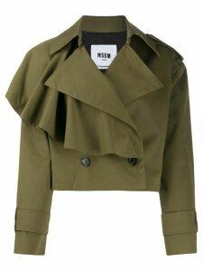 MSGM asymmetric ruffled detail jacket - Green
