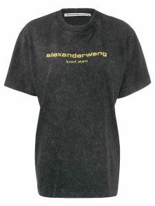 Alexander Wang logo embroidered T-shirt - Black
