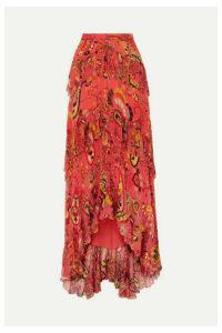 Etro - Asymmetric Ruffled Printed Silk-crepon Maxi Skirt - Red