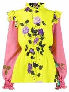 MSGM floral-print ruffle blouse - Yellow