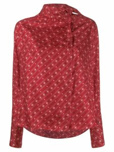 Fendi Karligraphy motif foulard collar blouse - Red