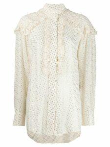 Victoria Beckham pintuck ruffled blouse - White