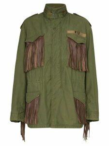 R13 M65 fringed cotton cargo jacket - Green