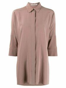 Agnona oversized crepe de Chine shirt - NEUTRALS