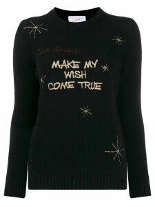 Giada Benincasa slogan embroidery wool jumper - Black