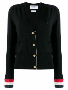 Thom Browne pointelle stitch v-neck cardigan - Blue
