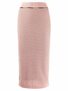 Fendi FF mesh pencil skirt - PINK