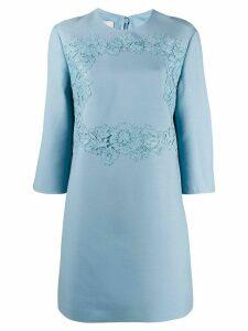 Valentino floral lace detail short dress - Blue