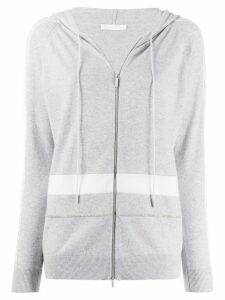 Fabiana Filippi lace-trimmed zip-through hooded sweater - Grey