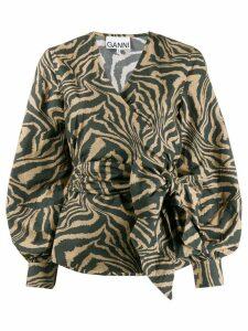 GANNI graphic print wrap blouse - NEUTRALS