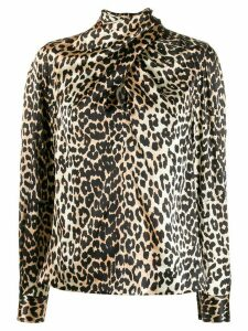 GANNI leopard-print tie-neck blouse - Brown