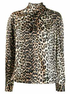 GANNI leopard-print tie-neck blouse - Brown