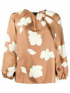 Theory petal print silk blouse - Brown