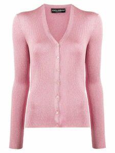 Dolce & Gabbana ribbed metallic cardigan - PINK