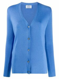 Prada ribbed V-neck cardigan - Blue